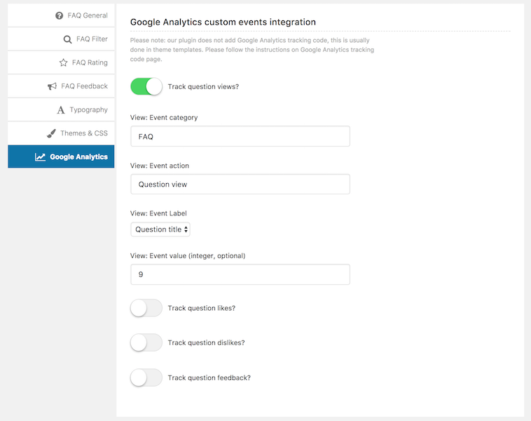 FAQ Google Analytics settings