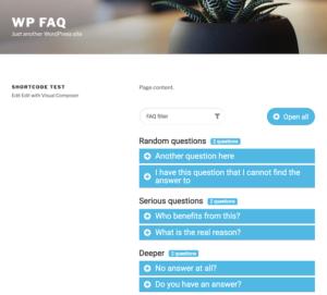 Rendered FAQ shortcode