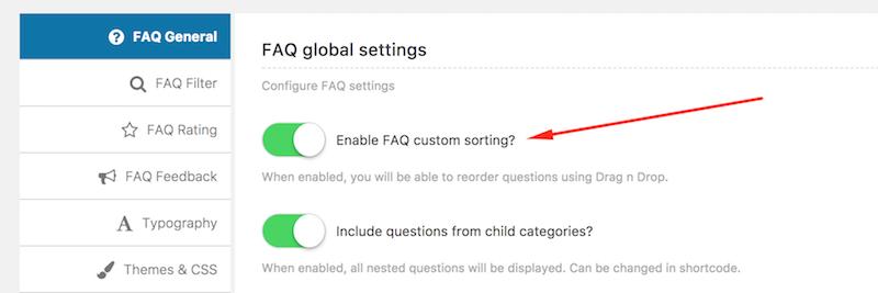 Candy FAQ custom sorting